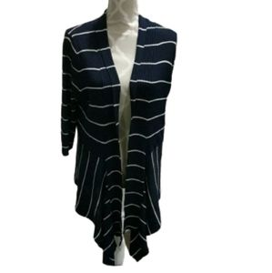Laura petite Navy and white ribbed cardigan